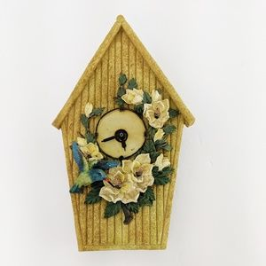 Birdhouse Wall Clock Magnolias Bluebird Country